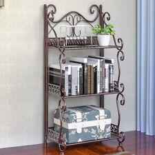 Folding Bookshelves Metal Storage Organizer Racks Shelf Home Display 3/4/5