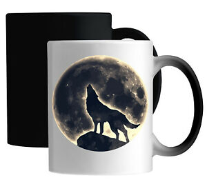 Wolf Howling At The Moon Night Sky Styled Graphic Color Changing Magic Mug