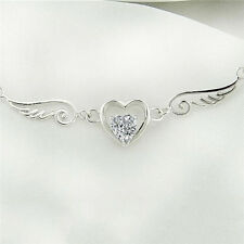 Silver Necklace Dream Angel Wings of Love Heart Necklace Female Birthday Gift TS