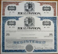 USF/'US Financial' - Pair of 1970s Stock/Bond Certificates - Blue & Brown