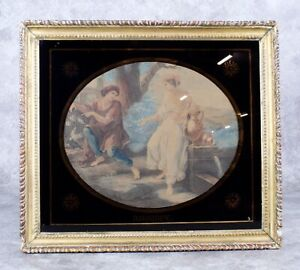 Rhodope in Love with Aesop Engraving by Francesco Bartolozzi Angelica Kauffman