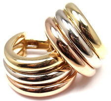 Authentic! Cartier 18k Tri-Color Gold Large Size Trinity Hoop Earrings
