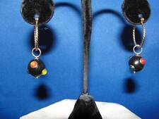 So unusual! Vintage 14k Yellow gold Black Enamel Cloisonné Earring Charms