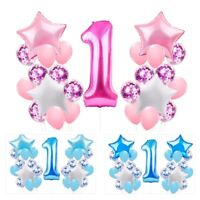 1st Happy Birthday Confetti Balloons Blue Baby Shower Party Decoration Kid Favor