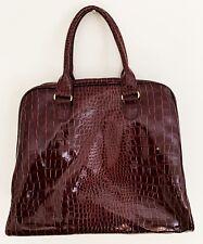 JESSICA SIMPSON Women Hand Bag Tote Burgundy Large Reptile Print Patent