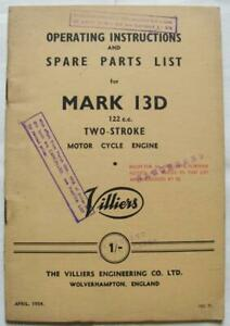 VILLIERS Mark 13D Illustrated Motorcycle Engine Parts List 1954 #VEC 71