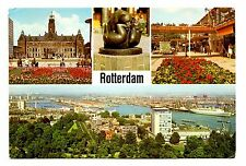 Rotterdam Holland Postcard Statue City Hall Aerial View Flowers City Boats Barge