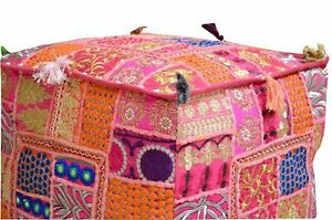 Indian Square Pink Pouf Ottoman Floor Cushion Cover Patchwork Vintage Home Decor