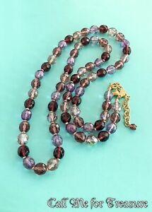"""Joan Rivers amethyst purple Glass Bead necklace 34"""""""