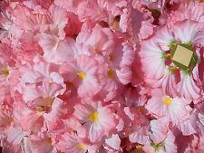 """Artificial """"silk"""" Cherry Blossom Flower Heads  Petals Pink/Cream 72 heads"""
