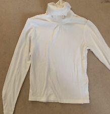 Unisex Boy Girl High Nick Top Long Sleeve White Size 10