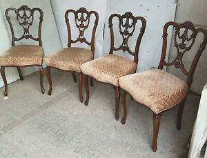 4,antique,victorian,serpentine,mahogany,dining chairs,cabriole legs,sprung,chair