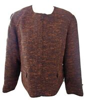 Coldwater Creek Tweed Jacket Blazer PXL Petite XL 18 Black Brown Zip Up NWT New