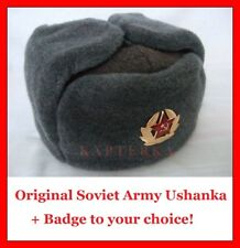 ☆ Sz.58 Original ☭ Soviet Russian Army Soldier Uniform Hat Shapka Ushanka +Badge