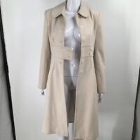 Womens Trench Coat Beige Buttons Pleated Back Collared Wool Blend S