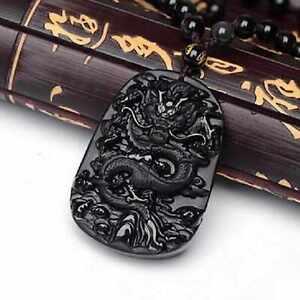 Natural black Obsidian Dragon gemstone pendant beads necklace Bohemia Mental