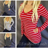 V-Neck Striped Detail Basic Long Sleeve Stretch Fitted Shirt Tee Top