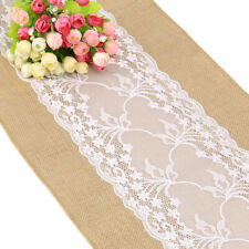 Hessian Lace Table Runners Runner Sewed Edge Vintage Jute Wedding Party Decor