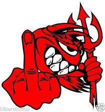 LITTLE RED DEVIL -F-U BUMPER STICKER DEVIL WITH MIDDLE FINGER BUMPER STICKER