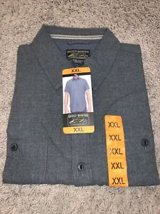 NWT Men's Grizzly Mountain Gray XXLARGE Button-Up Short Sleeve Woven Shirt 2XL