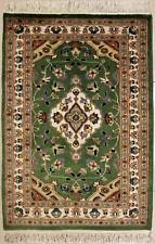 Rugstc 2.5x4 Pak Persian Green Area Rug, Hand-Knotted,Floral with Silk/Wool Pile