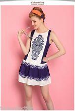 Cheerleader Style Classic Party Summer Shift Mini School Navy White Dress 88587