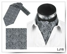 Men Vintage Wedding Formal Cravat Ascot Scrunch Self Neck Tie Silver Paisley
