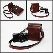 Coffee leather camera case bag pouch for Sony HX90V HX90 WX500 RX100IV /RX100III