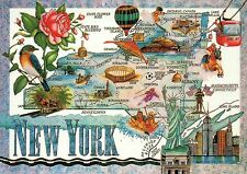 New York, The Empire State, NY City, Statue of Liberty, Horse etc - Map Postcard