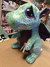 "Ty CINDER -Green/Shiny Purple Winged Dragon 6"" Beanie Boo!"