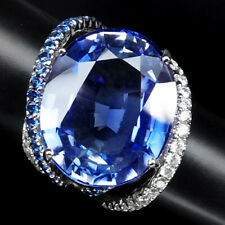 VIOLET BLUE TANZANITE RING 33.10CT.SAPP 925 STERLING SILVER WHITE GOLD SIZE 6.75