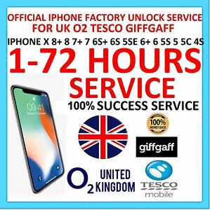 EXPRESS FAST UNLOCK O2 Tesco iPhone  X 8+ 8 7+ 7 6s+ 6s 6+ 6 5se 5s 5 5c