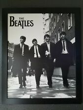 LARGE The Beatles Walking on the Street in Black and White Framed Picture 34x28