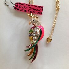 """PRETTY CRYSTAL PARROT 28"""" Pendant Necklace Betsey Johnson+"""
