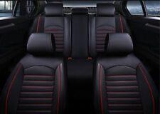 Komplettset Sitzbezüge schwarz mit rot Komfort Schonbezüge Kunstleder elegant