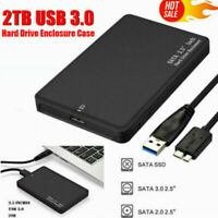 "External Backup Hard Drive Case 2TB USB 3.0 Enclosure 2.5"" Portable HDD SATA SSD"