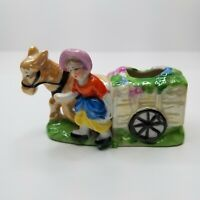 Vintage Planter Donkey With Cart Woman Made In Japan