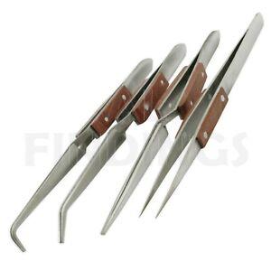 4 Angled & Straight Self Cross Locking Soldering Tweezers Watch Tweezer Tool
