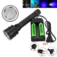 Waterpoof 100m 390nm 50W 5 x UV LED Scuba Diving Hunting Flashlight 18650 Torch