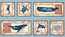 "Fabric Marine Isle Sea Creatures Whale Seahorse Blue Coral Cotton Panel 24""x42"""