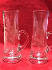 2 Vintage Etched Cordial Blown Crystal Shot Glass Cordial Handle After Dinner