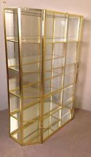 VINTAGE BRASS GLASS JEWELRY VANITY DRESSER TRINKET BOX WITH SHELVES. (F)