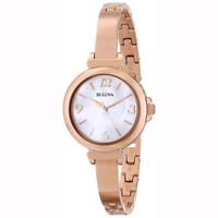 Bulova Women's 97L137 Quartz Mother-of-Pearl Dial Rose Gold Bracelet 30mm Watch