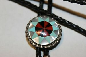 Beautiful Bolo SIGNED ZUNI Native American Pearl Red Coral Turquoise & Onyx WOW!