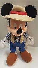"Authentic Disney Safari Gone Fishing Camping Mickey Mouse Plush 15"" Disneyland"