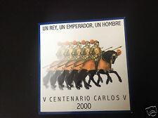 manueduc   ESPAÑA 2000  CARTERA  FNMT  PLATA  con 2000  pesetas  CARLOS V Nueva