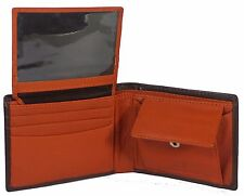 Mens Genuine Leather Bifold Wallet Credit/ID Card Holder Slim Coin Purse Slim