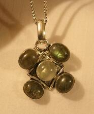 Striking 925 Silver Greenish-Gray Labradorite & Peruvian Jade Pendant Necklace