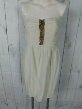 Shoshanna Off White Ivory Beaded Silk Strapless Cocktail Dress - Size 2