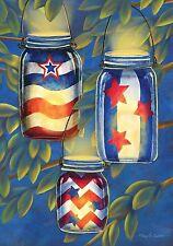 "FM86 PATRIOTIC AMERICAN LANTERNS JULY 4TH SUMMER  12""x18"" GARDEN FLAG BANNER"